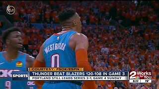 Thunder Beat Blazers, Still Trail 2-1 in Series