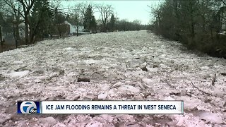 Buffalo Creek still filled high with ice in West Seneca.