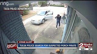 Tulsa police search for a suspect porch pirate