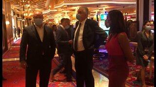 Nevada Gov. Steve Sisolak tours Vegas Strip casinos reopening for business