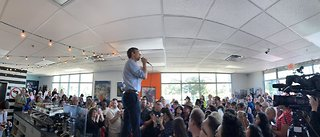 Presidential candidate Beto O'Rourke talks with Las Vegas voters