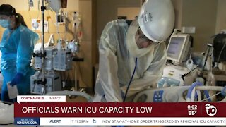 San Diego County officials warn ICU capacity low
