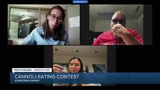 TMJ4 staff takes part in Cannoli eating contest