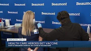 Staff at Beaumont Hospital get COVID-19 vaccines