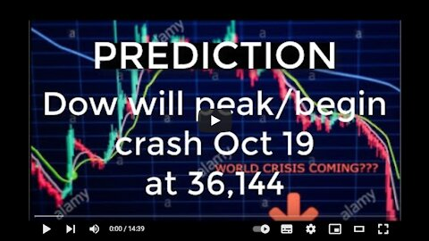 PREDICTION - Dow will peak / begin crash on Oct 19 at 36,144 points