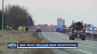 Semi tips over near Wrightstown