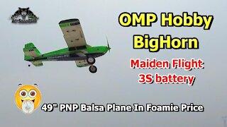 OMP Hobby Bighorn 49 Inch Balsa RC Airplane PNP Maiden Flight