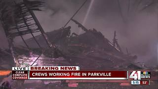 Home destroyed, road closed after downtown Parkville fire