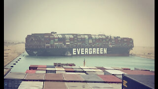 EGYPT SUEZ CANAL BLOCKED BY EVERGREEN. SHIPPING DELAYS
