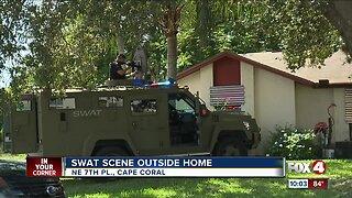 SWAT scene outside NE Cape Coral home on Monday