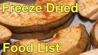 Freeze Dry Food List