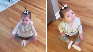 Scooting baby finds hilariously new way to get around
