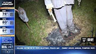 Halloween display caught on fire