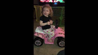 Little girl gets scared by her birthday present