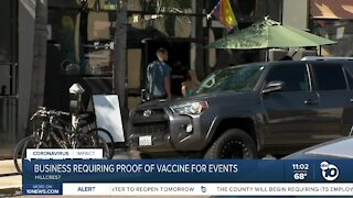 Business requires proof of vaccination