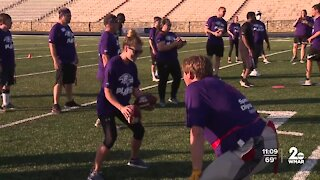 Ravens players train with Special Olympics athletes
