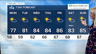 Warming up this week, not much chance for rain