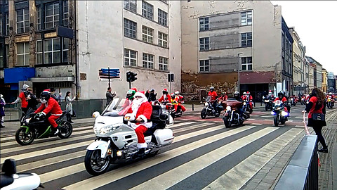 Santa Clauses on motorcycles