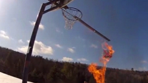 Dangerous trick shot with a boomerang never done before
