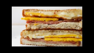 Breakfast Sandwich with Egg, Ham, and Cheese - Easy Breakfast Recipe