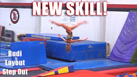 NEW SKILL! | Rudi Layout Step Out | Whitney Bjerken Gymnastics