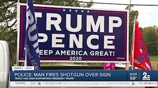 Police: Man fires shotgun over sign