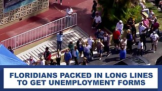 Floridians packed together in long lines for unemployment forms