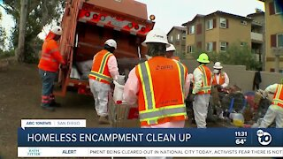 Crews gather to clean up homeless encampment in National City