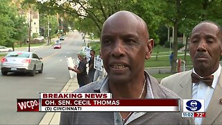 Tracie Hunter supporters demonstrate outside retired judge's home