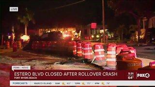 Rollover crash causes Estero Blvd to crash