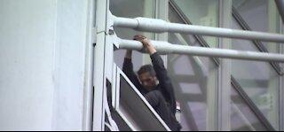Man climbs NYT building last night