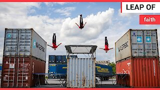 Acrobats build the Ultimate Trampoline Playground