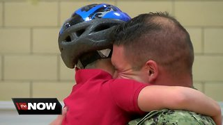 Milwaukee Navy father reunites with son after 20 months deployed