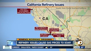 Refinery problems lead to surging gas prices in California
