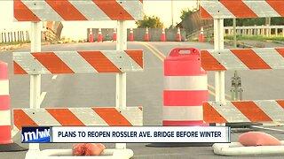 Plans to reopen Rossler Ave. bridge before winter
