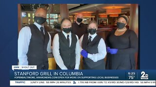 """Stanford Grill in Columbia says """"We're Open Baltimore!"""""""