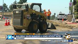 Main break leaves businesses and homes without water