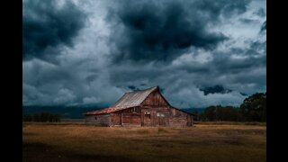 Approaching storm with wind and thunder