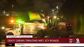 ODOT crews treating wet, slick roads