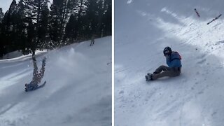 Epic skiing wipeout caught on camera