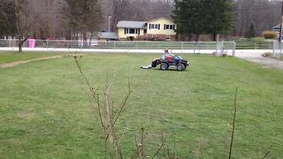 Little Brother Loses Pants Being Dragged Behind Powerwheels Car