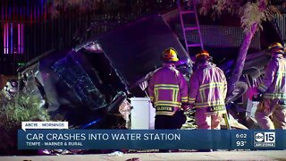 Car crashes into water station in Tempe