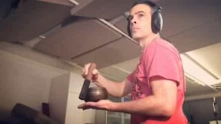 Foley artist makes music using everyday objects