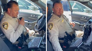 Retiring Police Officer receives touching message from his son during final sign-off