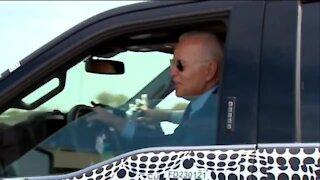 President Biden drives the F-150 LIghtning