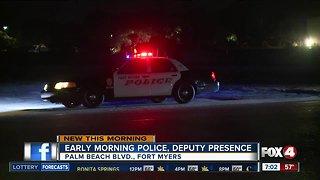 Early morning deputy presence off Palm Beach Boulevard early Monday