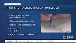 Troops to teachers information session Wednesday