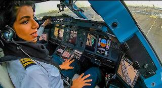 Female Pilot flying the world's largest passenger jet!