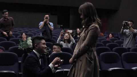 """Epic Surprise Proposal During """"Film"""" In French Cinema"""