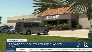 Private school to resume classes